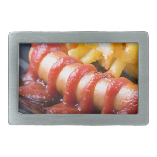 Grilled sausages and fried potato rectangular belt buckles