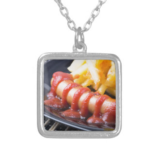 Grilled sausages and fried potato silver plated necklace