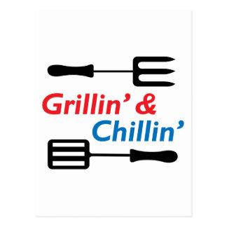 GRILLIN AND CHILLIN POSTCARD