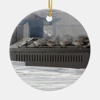 Grilling fish outdoors ceramic ornament