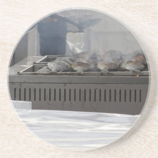 Grilling fish outdoors coaster