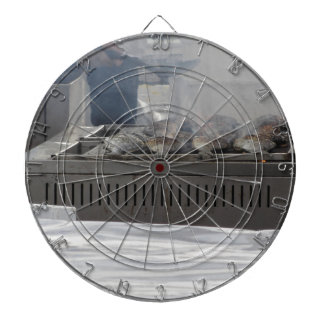 Grilling fish outdoors dartboard