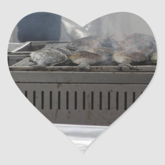 Grilling fish outdoors heart sticker