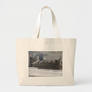 Grilling fish outdoors large tote bag