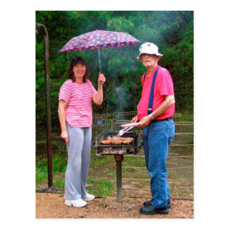 Grilling in the Rain Postcard