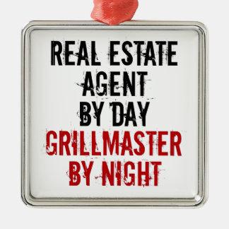 Grillmaster Real Estate Agent Silver-Colored Square Decoration