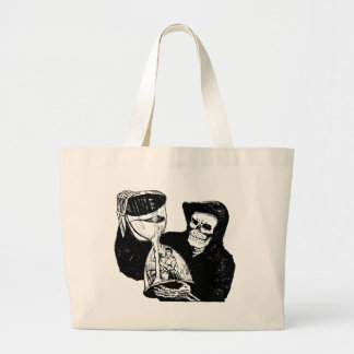 Grim Reaper and Man Large Tote Bag