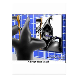 Grim Reaper Brush W/Death Funny Tees Mugs & Gifts Postcard