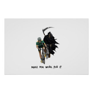 Grim Reaper Chasing Cyclist Poster