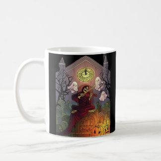 Grim Reaper & Ghosts Haunt Graveyard on Halloween Coffee Mug