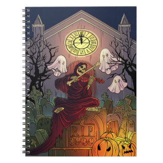 Grim Reaper & Ghosts Haunt Graveyard on Halloween Spiral Notebook