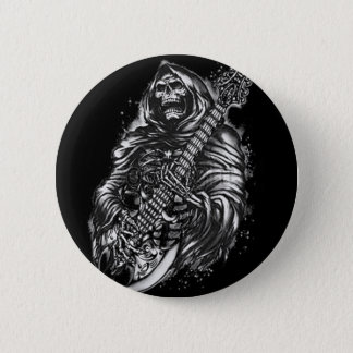 Grim  Reaper Guitar 6 Cm Round Badge