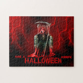Grim Reaper Halloween Greeting Jigsaw Puzzle