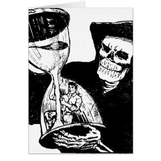 Grim Reaper Hourglass Vintage Creepy Card