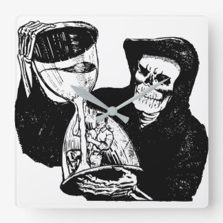 Grim Reaper Hourglass Vintage Creepy Square Wall Clock