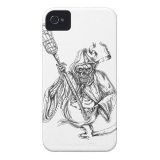 Grim Reaper Lacrosse Defense Pole Tattoo Case-Mate iPhone 4 Case