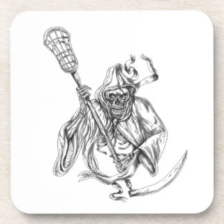 Grim Reaper Lacrosse Defense Pole Tattoo Coaster