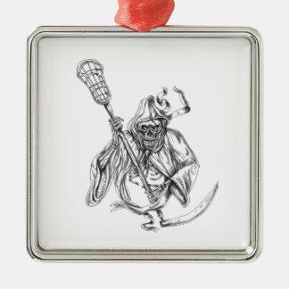 Grim Reaper Lacrosse Defense Pole Tattoo Metal Ornament