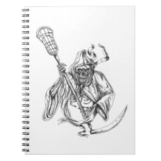 Grim Reaper Lacrosse Defense Pole Tattoo Notebooks