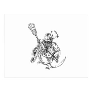 Grim Reaper Lacrosse Defense Pole Tattoo Postcard