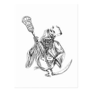 Grim Reaper Lacrosse Defense Pole Tattoo Postcard