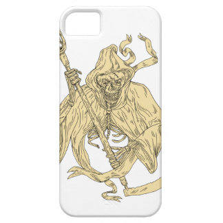 Grim Reaper Lacrosse Stick Drawing Case For The iPhone 5