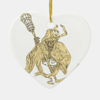 Grim Reaper Lacrosse Stick Drawing Ceramic Heart Decoration