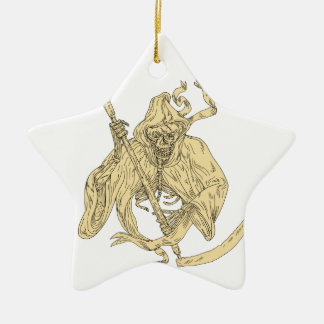 Grim Reaper Lacrosse Stick Drawing Ceramic Ornament