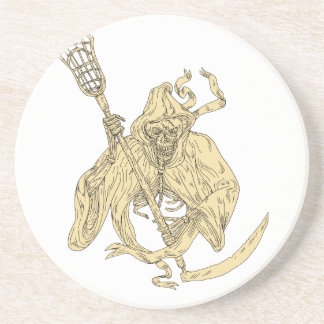 Grim Reaper Lacrosse Stick Drawing Coaster