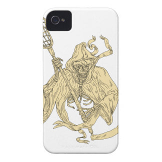 Grim Reaper Lacrosse Stick Drawing iPhone 4 Case-Mate Cases