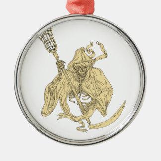 Grim Reaper Lacrosse Stick Drawing Metal Ornament