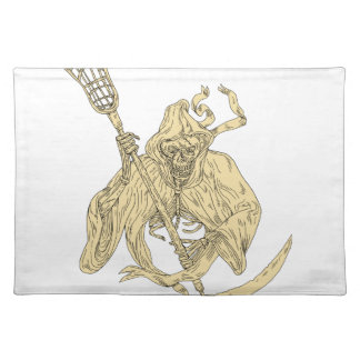 Grim Reaper Lacrosse Stick Drawing Placemat