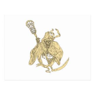 Grim Reaper Lacrosse Stick Drawing Postcard