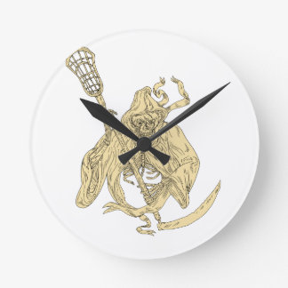 Grim Reaper Lacrosse Stick Drawing Round Clock