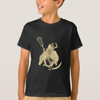 Grim Reaper Lacrosse Stick Drawing T-Shirt