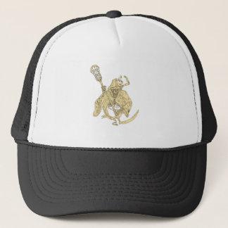 Grim Reaper Lacrosse Stick Drawing Trucker Hat