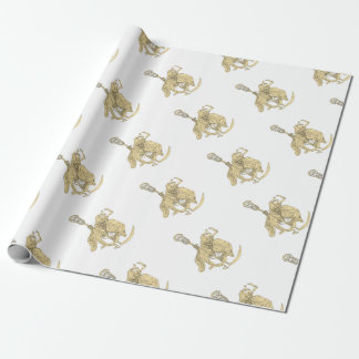 Grim Reaper Lacrosse Stick Drawing Wrapping Paper