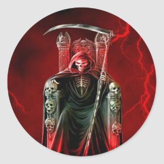 Grim Reaper On His Throne Classic Round Sticker