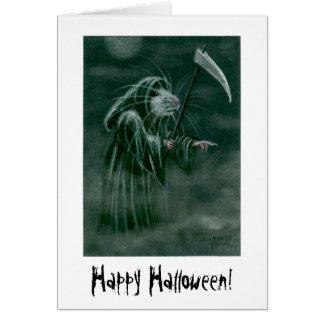 Grim Reaper Rat, Happy Halloween! Stationery Note Card