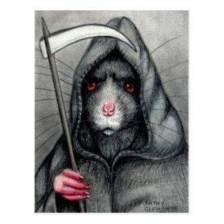 Grim Reaper Rat Postcard