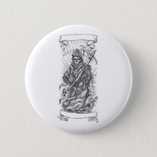 Grim Reaper Scythe Ribbon Tattoo 6 Cm Round Badge