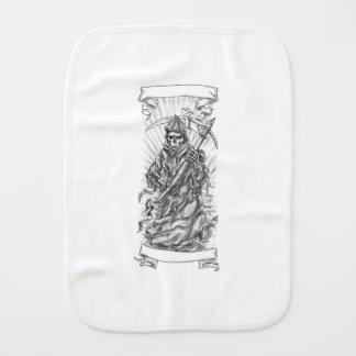 Grim Reaper Scythe Ribbon Tattoo Burp Cloth