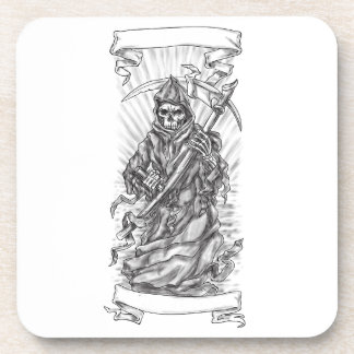 Grim Reaper Scythe Ribbon Tattoo Coaster