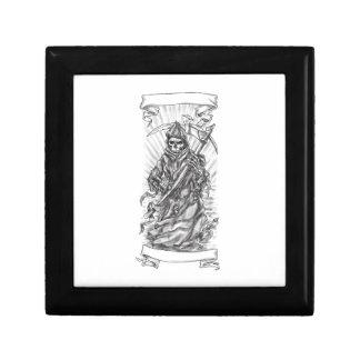 Grim Reaper Scythe Ribbon Tattoo Gift Box
