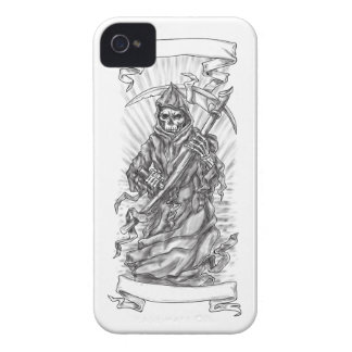 Grim Reaper Scythe Ribbon Tattoo iPhone 4 Cases