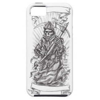Grim Reaper Scythe Ribbon Tattoo iPhone 5 Cases