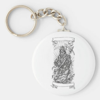 Grim Reaper Scythe Ribbon Tattoo Key Ring