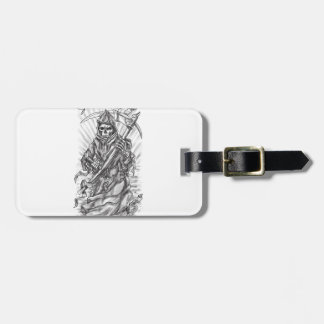Grim Reaper Scythe Ribbon Tattoo Luggage Tag