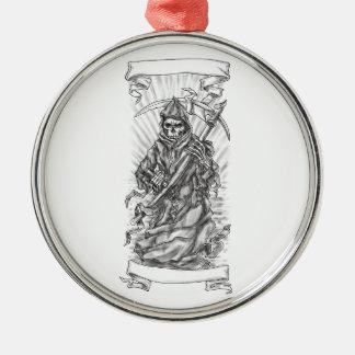Grim Reaper Scythe Ribbon Tattoo Metal Ornament