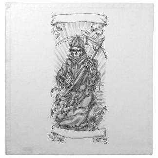 Grim Reaper Scythe Ribbon Tattoo Napkin